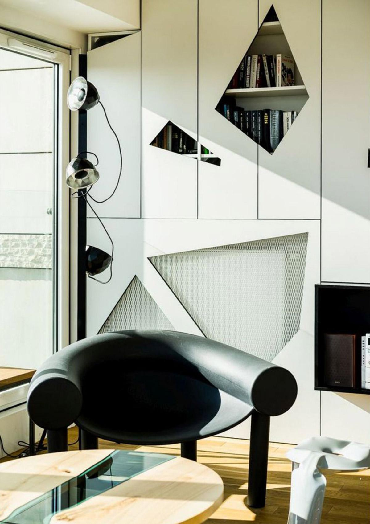 Thiết kế nội thất căn hộ Penthouse với những mảng hình học bất đối xứng cực kỳ lạ mắt