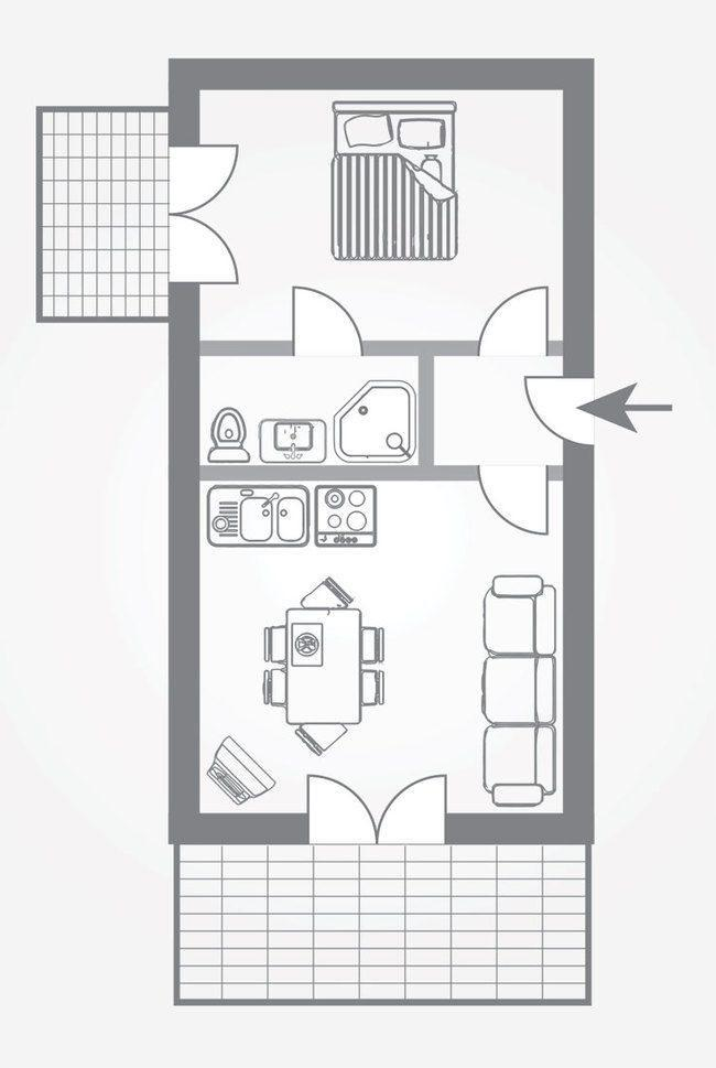 bản vẽ căn hộ chung cư 45m2