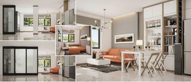 không gian thiết kế căn hộ 45m2