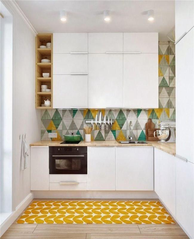 khu vực bếp màu vàng