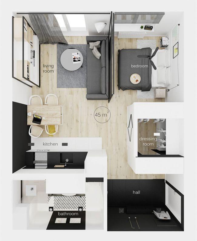 khu vực trong căn hộ 45m2