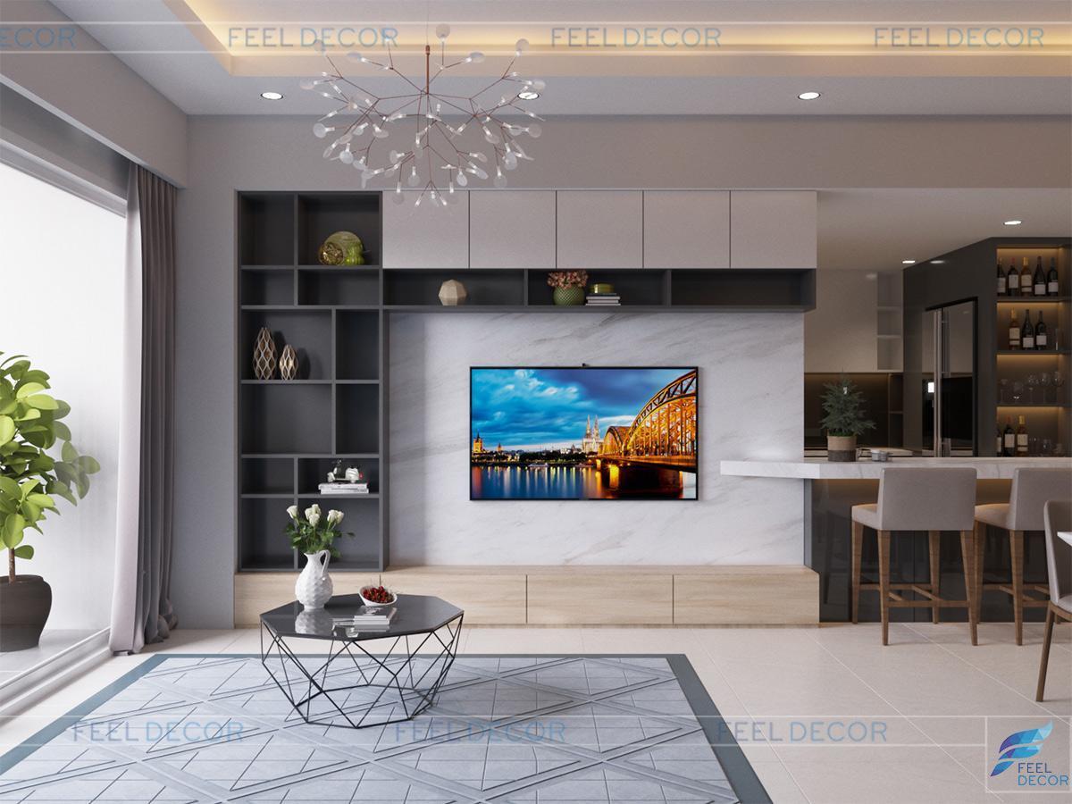 Thiết kế thi công nội thất phòng khách căn hộ 106m2 chung cư Sunrise City