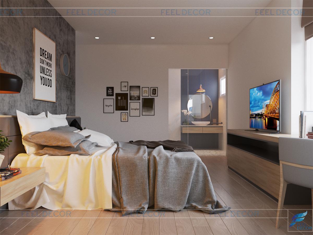 Không gian phòng ngủ Master căn hộ chung cư 106m2