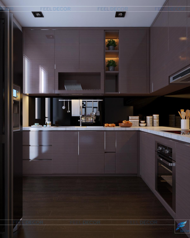 Thiết kế thi công nội thất phòng khách - bếp căn hộ 117m2