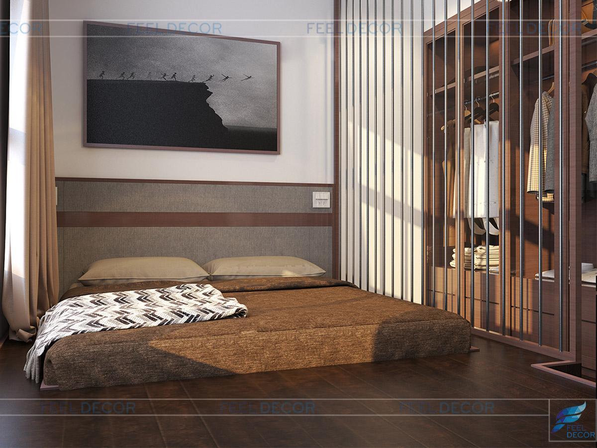 Thiết kế thi công nội thất phòng ngủ master căn hộ 117m2