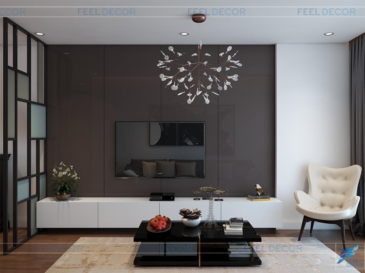 Thiết kế nội thất phòng khách căn hộ 117m2 chung cư Hoàng Anh Thanh Bình