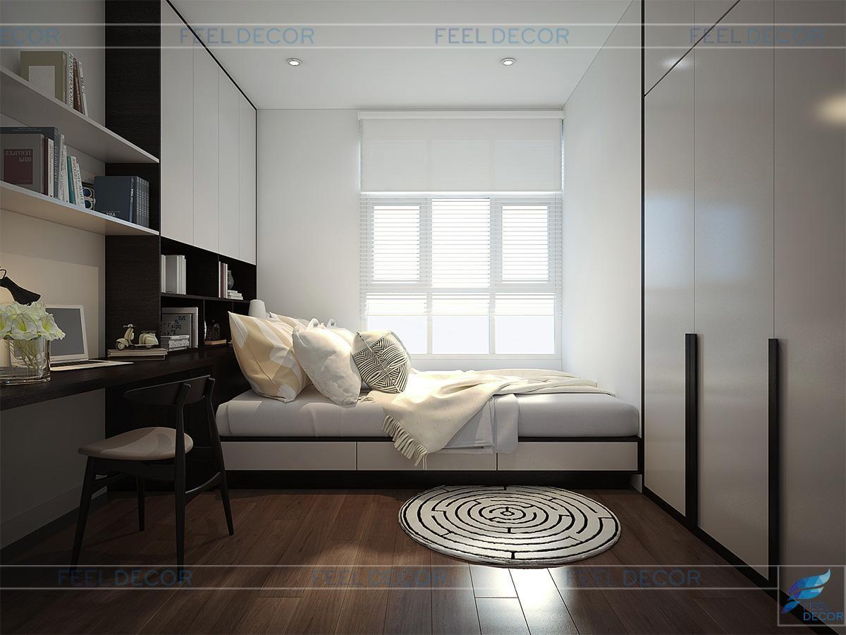 Thiết kế nội thất phòng ngủ Master căn hộ 117 chung cư Hoàng Anh Thanh Bình
