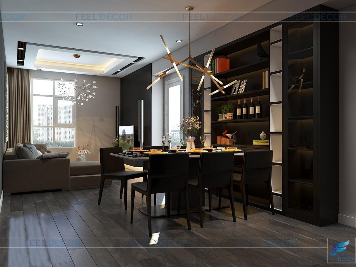Thiết kế nội thất bếp với quầy bar cho căn hộ diện tích 90m2