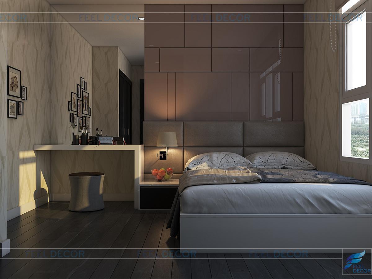 Nội thất phòng ngủ thứ 2 căn hộ 90m2 3 phòng ngủ