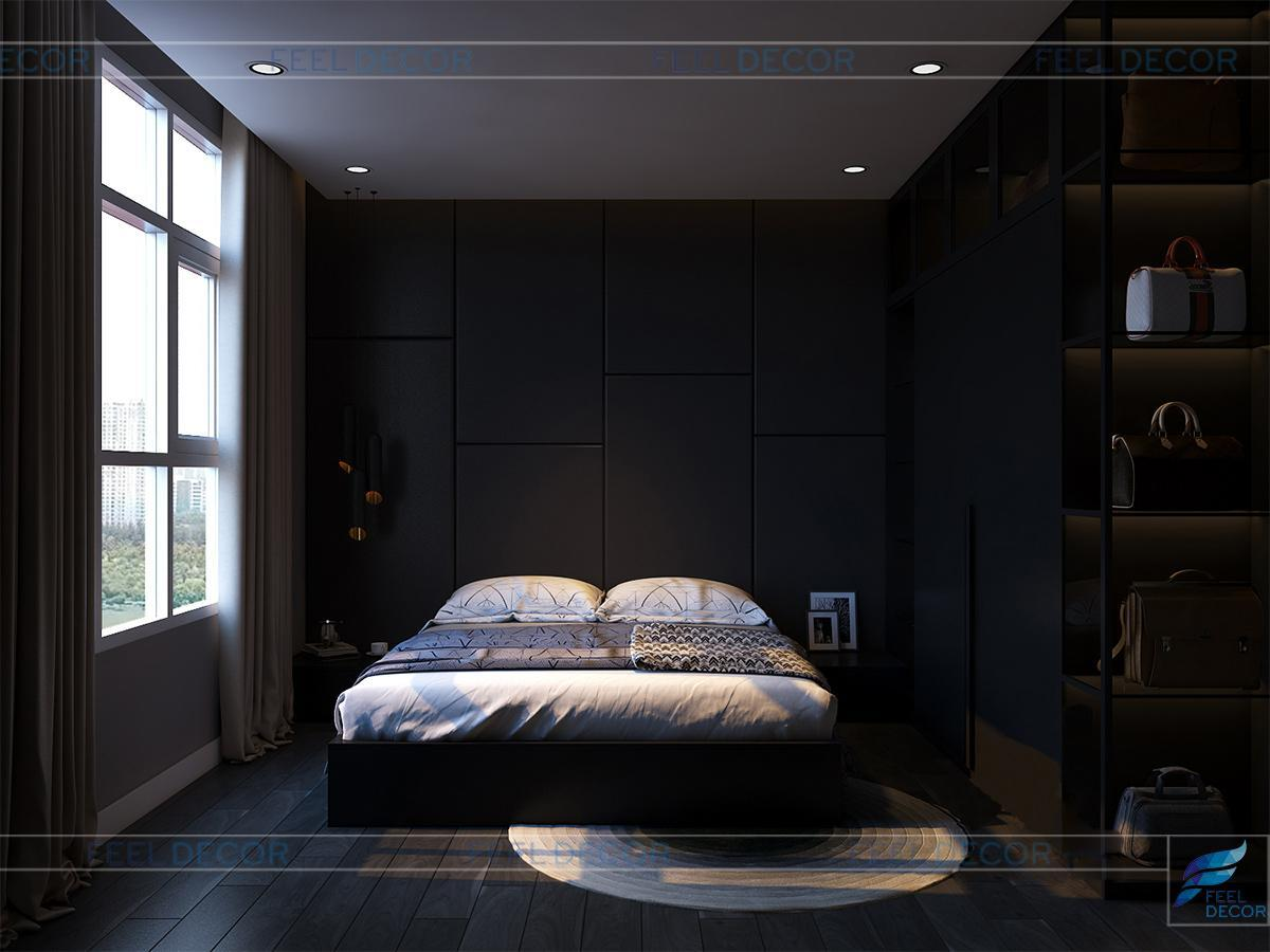 Thiết kế nội thất phòng ngủ Master căn hộ 90m2 chung cư Hoàng Anh Thanh Bình