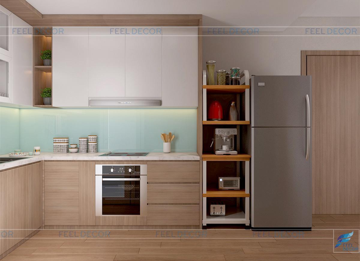 Phối cảnh thiết kế nội thất bếp và quầy bar căn hộ chung cư 73m2