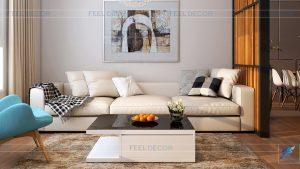 Phối cảnh nội thất phòng khách căn hộ 73m2 2 phòng ngủ