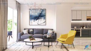 Thiết kế nội thất căn hộ chung cư 2 phòng ngủ tại dự án Vinhomes Central Park rộng 75m2