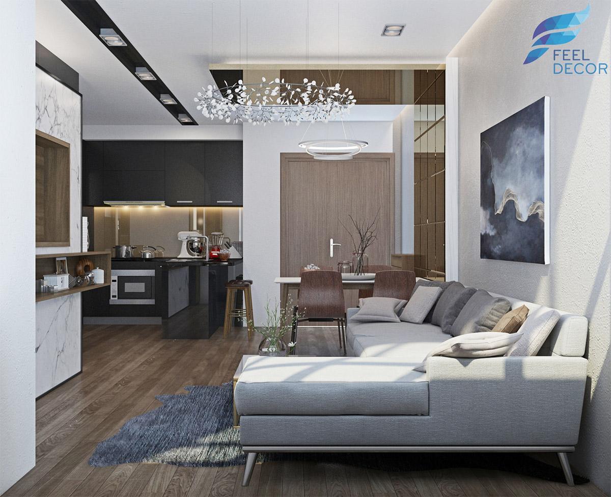 Nội thất căn hộ diện tích 76m2 – 2 phòng ngủ tại dự án chung cư Sunrise City