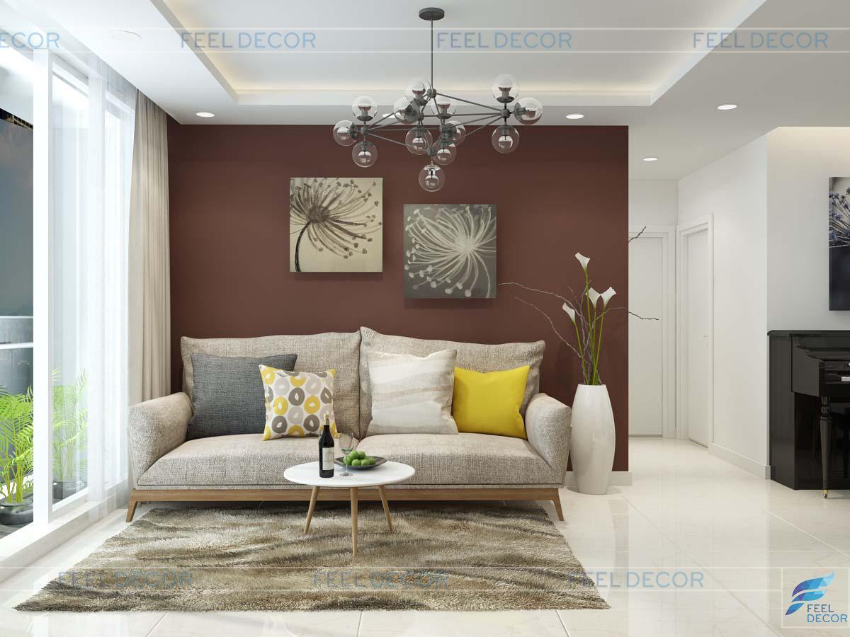 Thiết kế nội thất phòng khách căn hộ chung cư diện tích 88m2