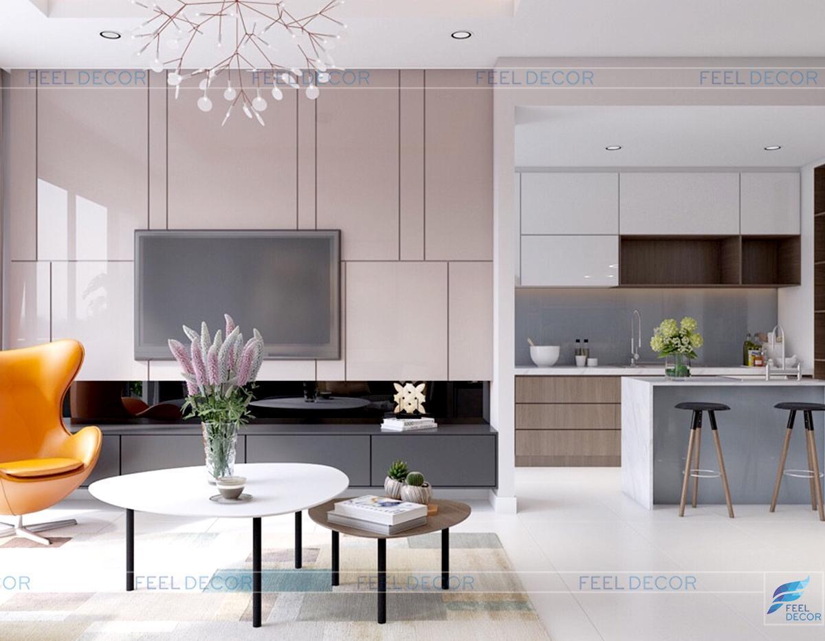 Thiết kế nội thất phòng khách trang trọng căn hộ 96m2 3 phòng ngủ