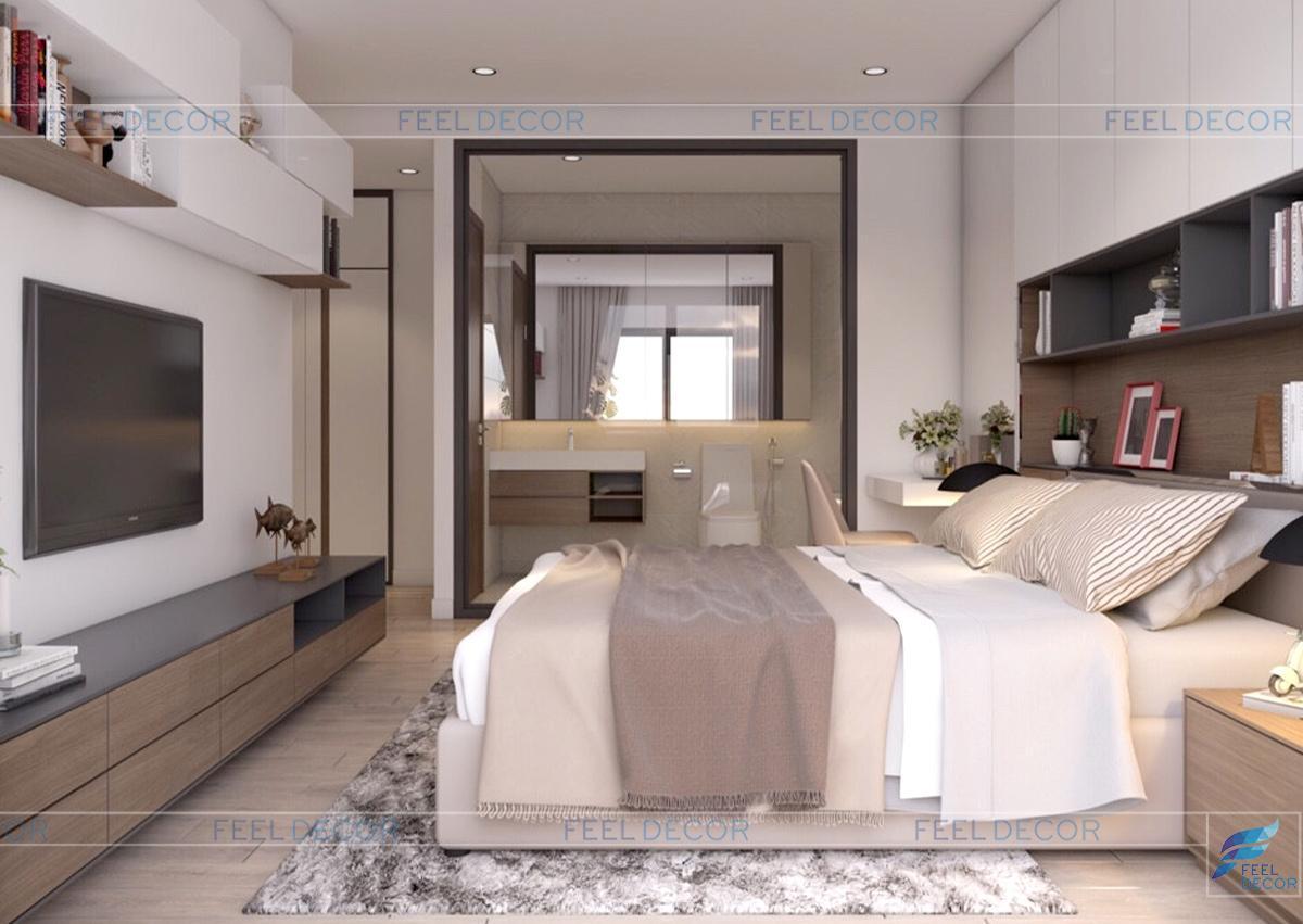 Thiết kế nội thất phòng ngủ Master căn hộ 96m2 3 phòng ngủ chung cư Green Valley