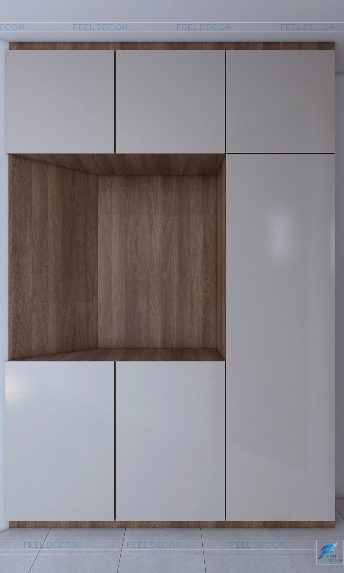 Thiết kế nội thất phòng khách căn hộ 96m2 3 phòng ngủ
