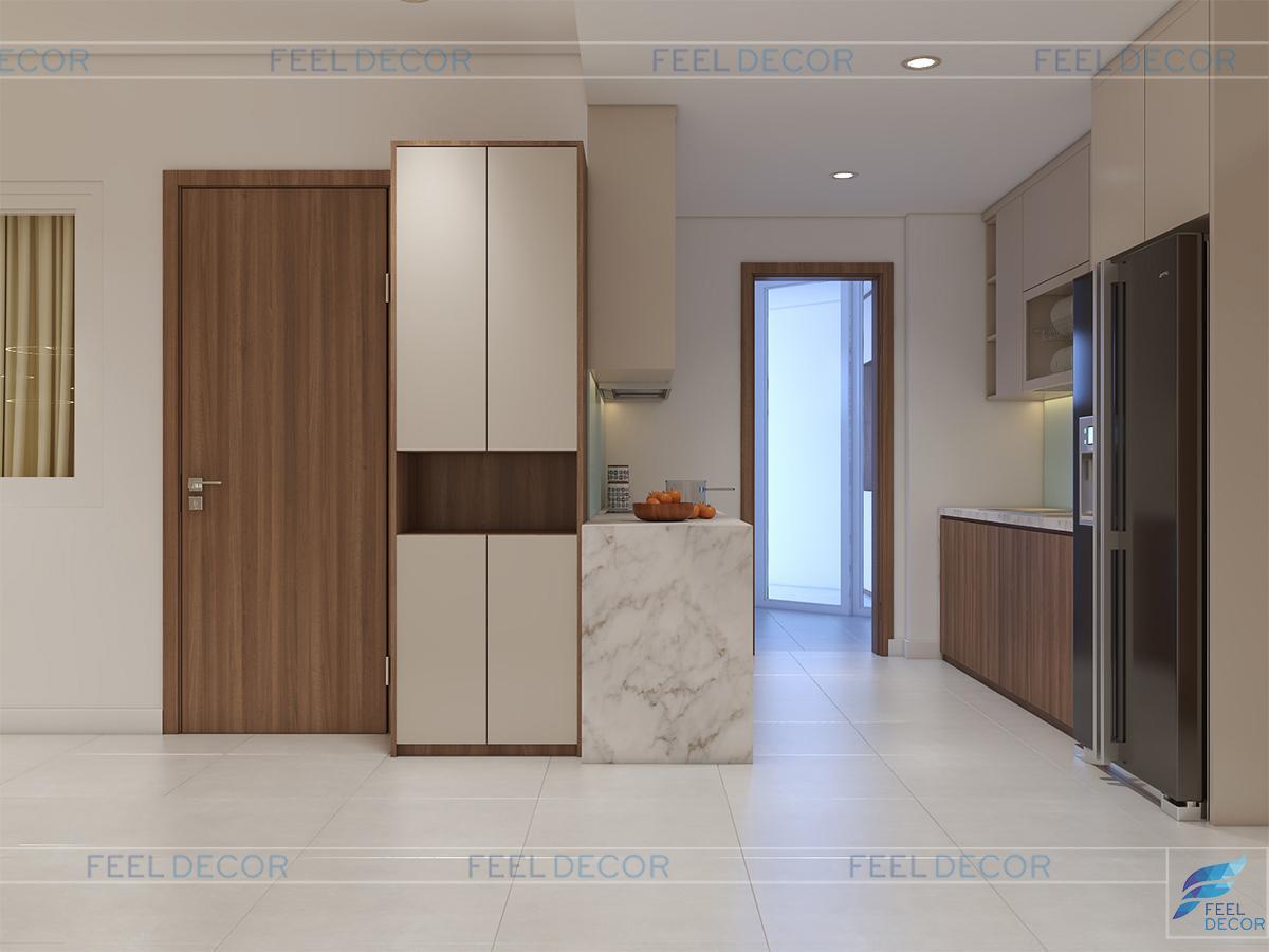 Thiết kế nội thất bếp căn hộ 96m2 chung cư Hoàng Anh Thanh Bình