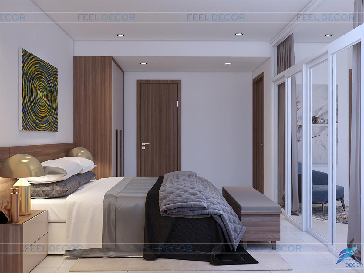Không gian phòng ngủ master kết hợp với phòng làm việc
