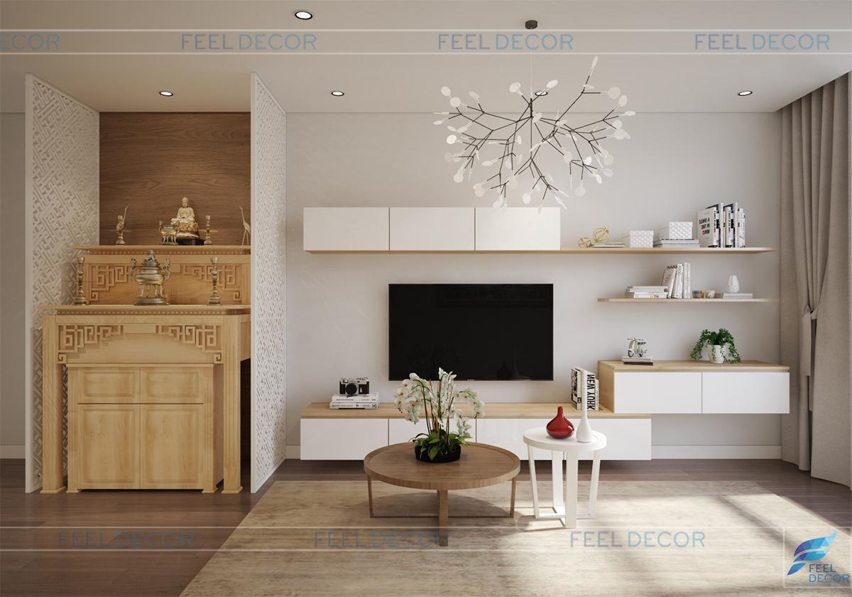 Thiết kế nội thất phòng khách căn hộ 96m2 chưng cư Hoàng Anh Thanh Bình