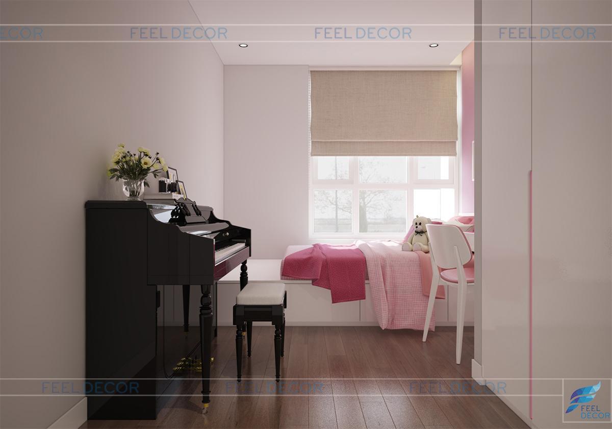Không gian phòng ngủ bé gái nữ tính