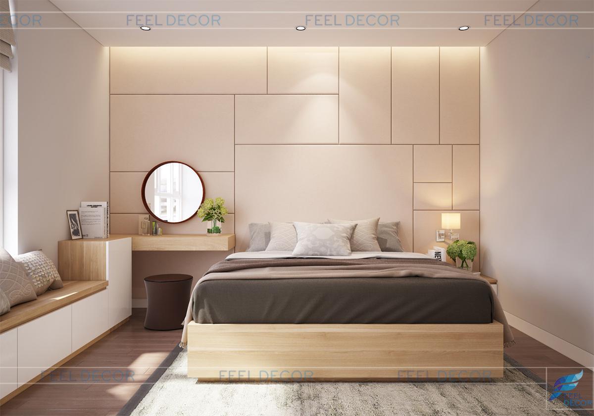 Thiết kế nội thất phòng ngủ master căn hộ 96m2 chưng cư Hoàng Anh Thanh Bình