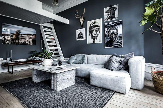 thiết kế nội thất căn hộ chung cư 45m2 tranh treo tường