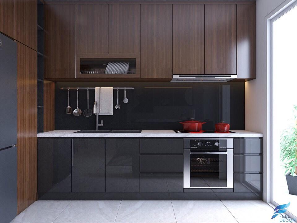 hình ảnh: thiết kế nội thất phòng bếp căn hộ 82m2 chung cư Green Valley Phú Mỹ Hưng