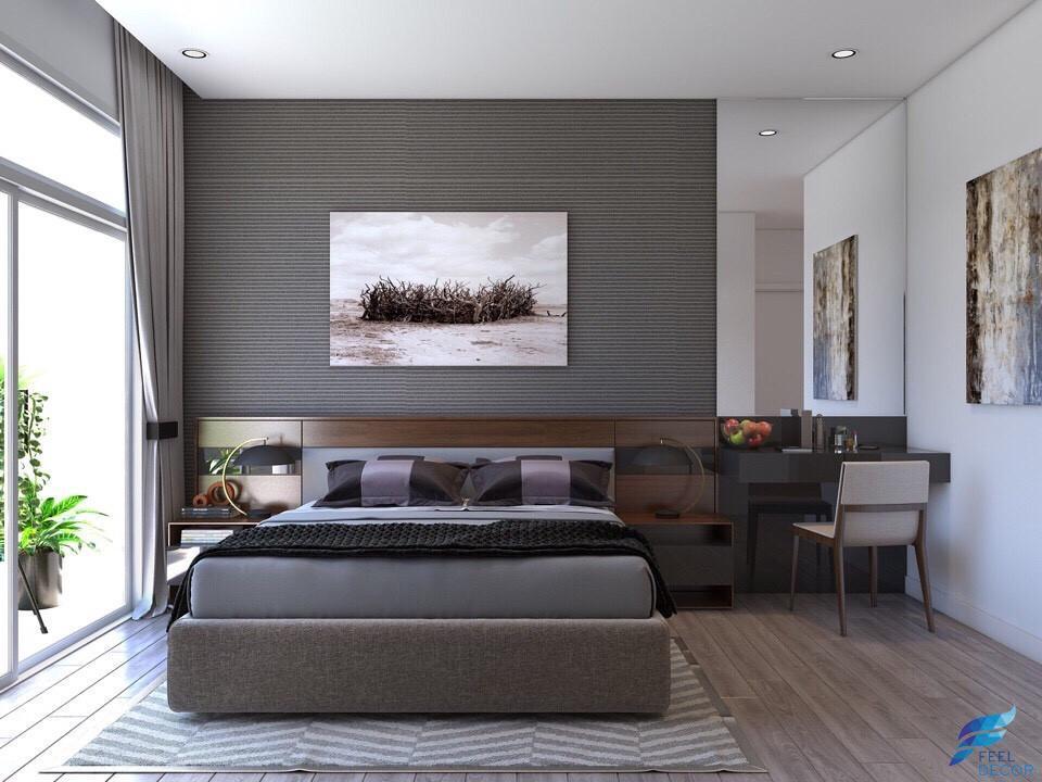 hình ảnh: thiết kế nội thất phòng ngủ master căn hộ 82m2 chung cư Green Valley Phú Mỹ Hưng