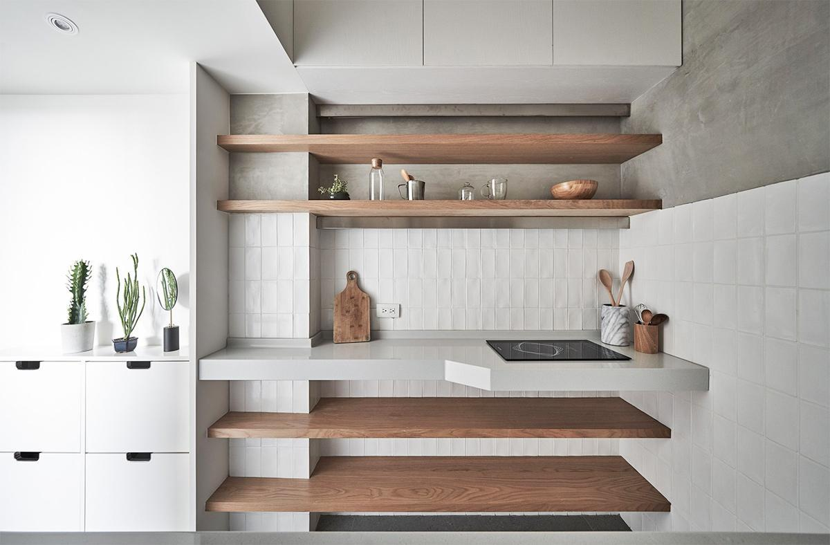 thiết kế bếp cho căn hộ 22m2