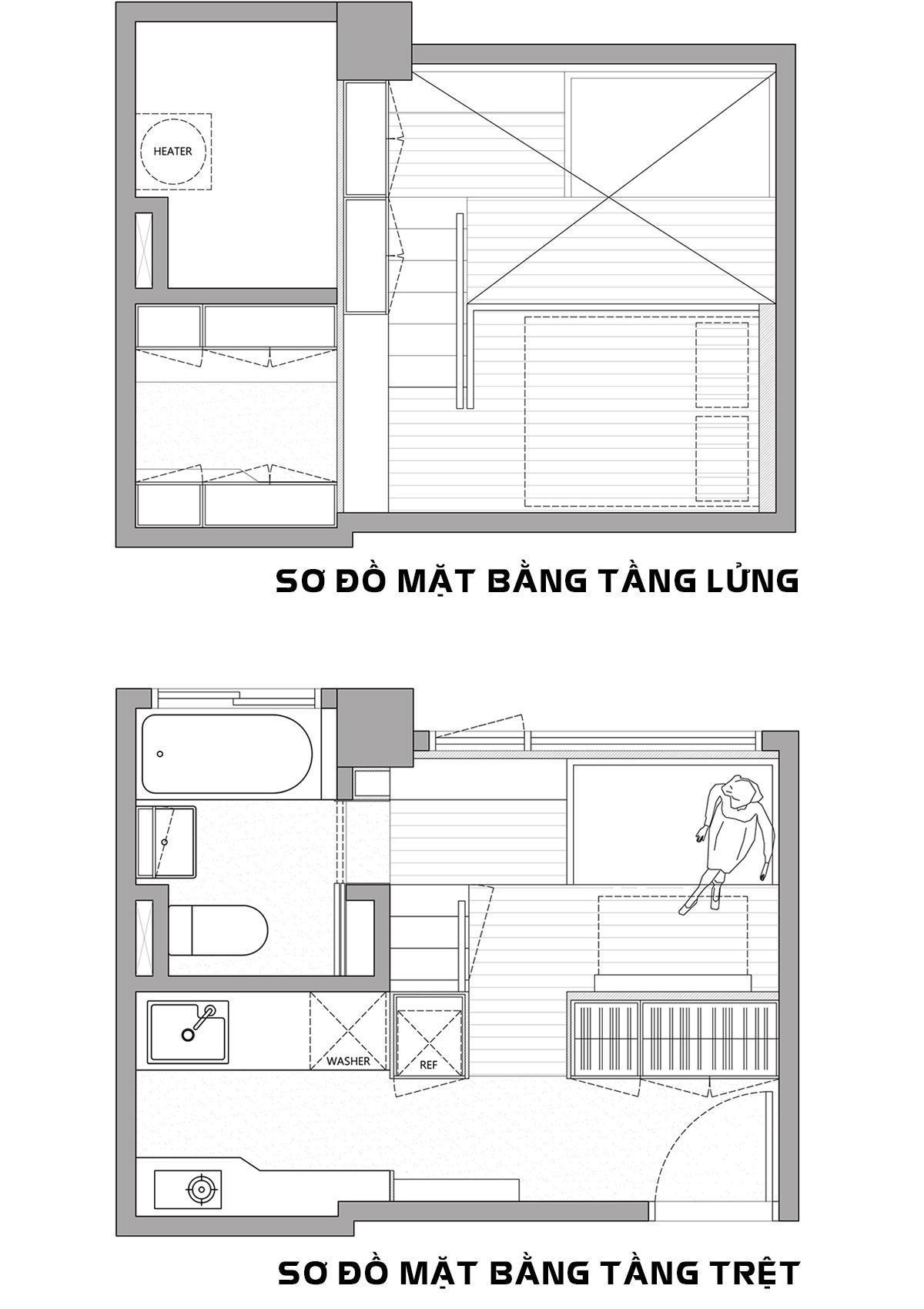 Sơ đồ thiết kế căn hộ 22m2