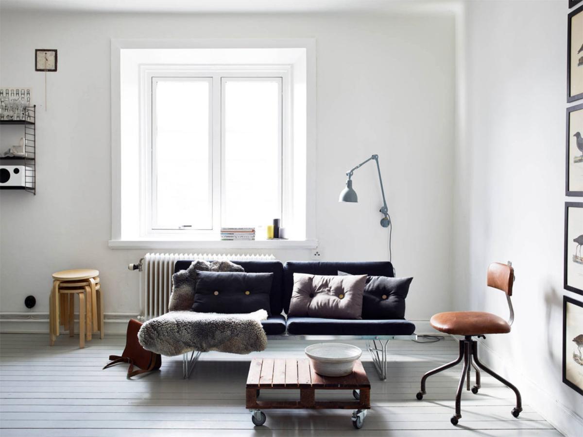 Thiết kế nội thất phòng khách căn hộ 31m2 phong cách Scandinavian