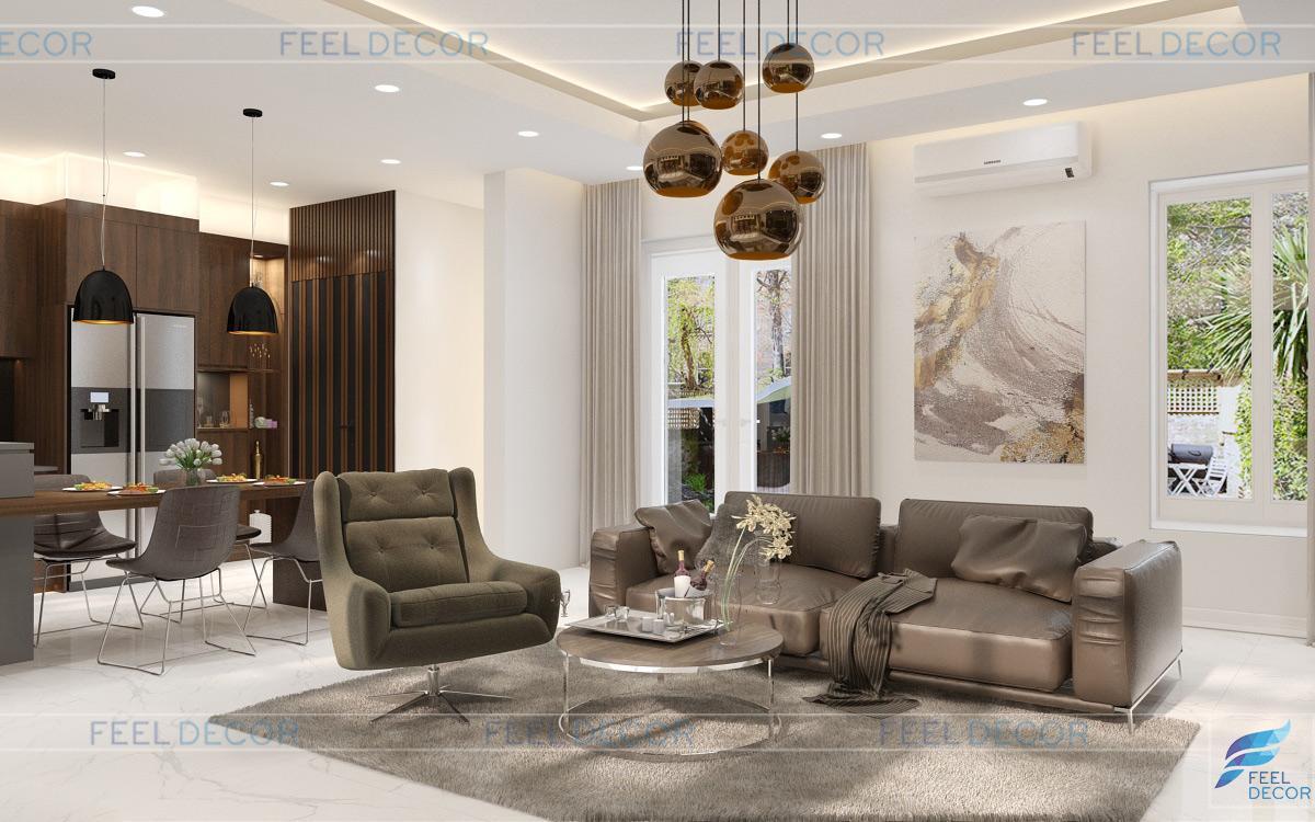 Thiết kế nội thất phòng khách - bếp biệt thự Khang Điền 280m2