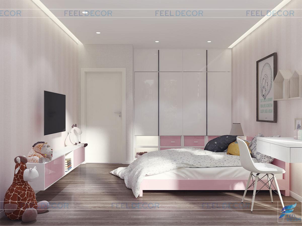 Thiết kế nội thất phòng ngủ bé gái biệt thự Khang Điền