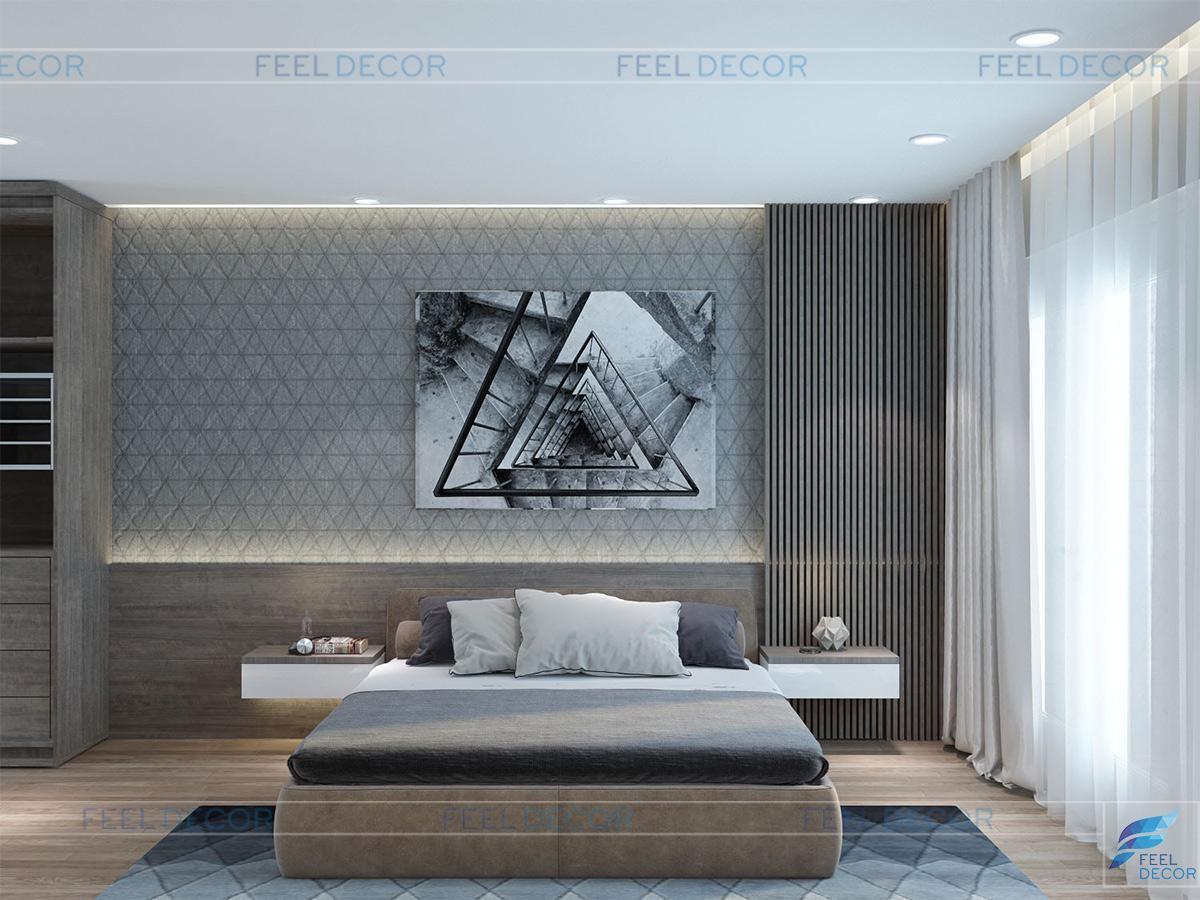 Thiết kế nội thất phòng ngủ Master biệt thự Khang Điền 280m2