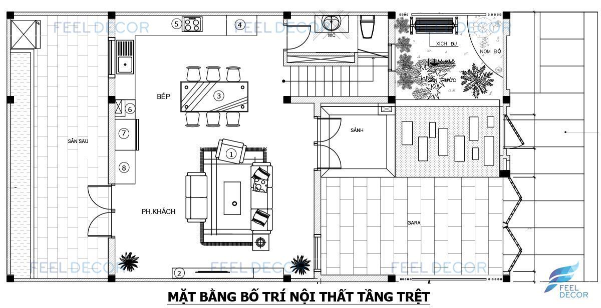 Thiết kế thi công nội thất biệt thự liền kề tại dự án Khang Điền diện tích 280m2