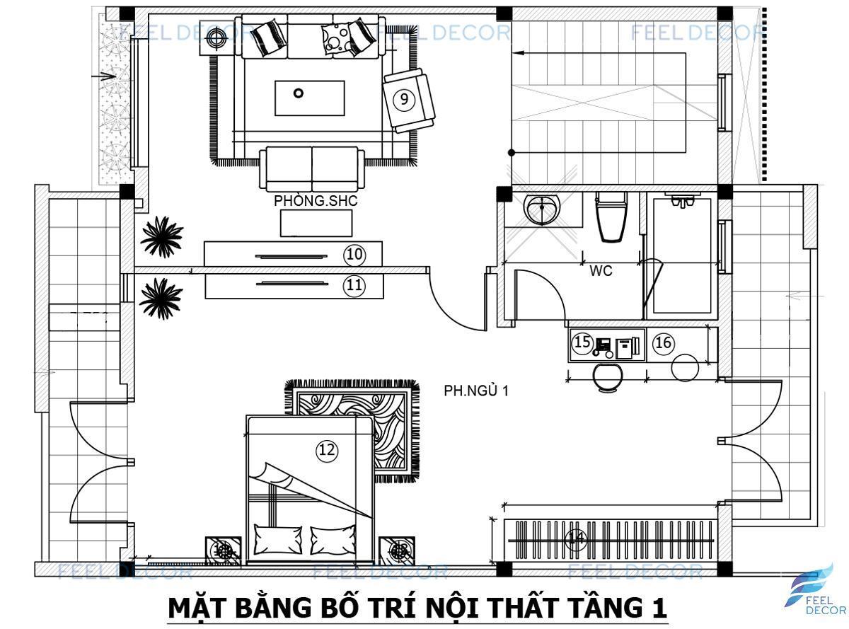 Thiết kế nội thất tầng 1 biệt thự Khang Điền 280m2