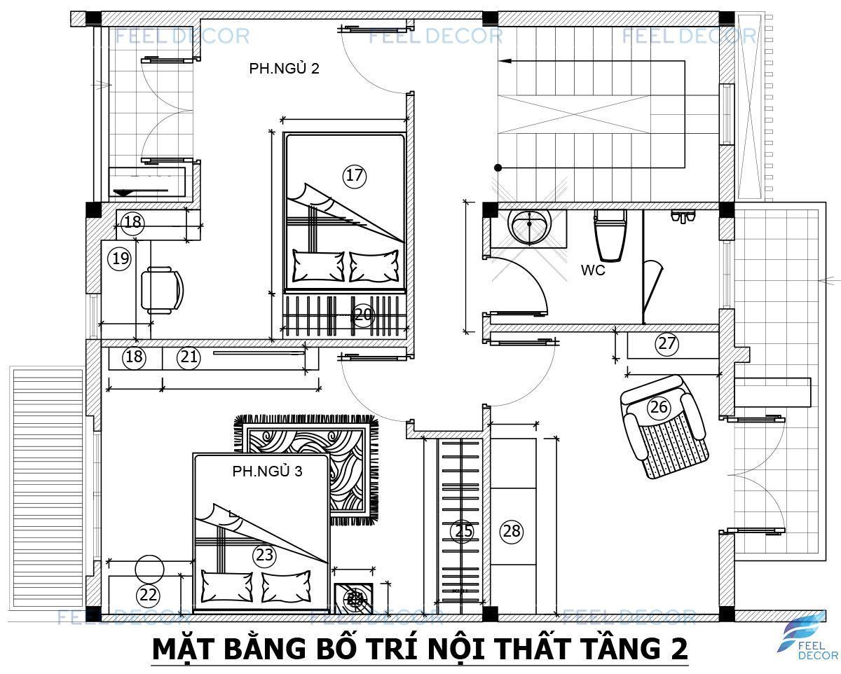 Thiết kế nội thất tầng 2 biệt thự Khang Điền 280m2