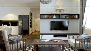 Thi công nội thất phòng khách căn hộ 108m2 chung cư Tân Phước