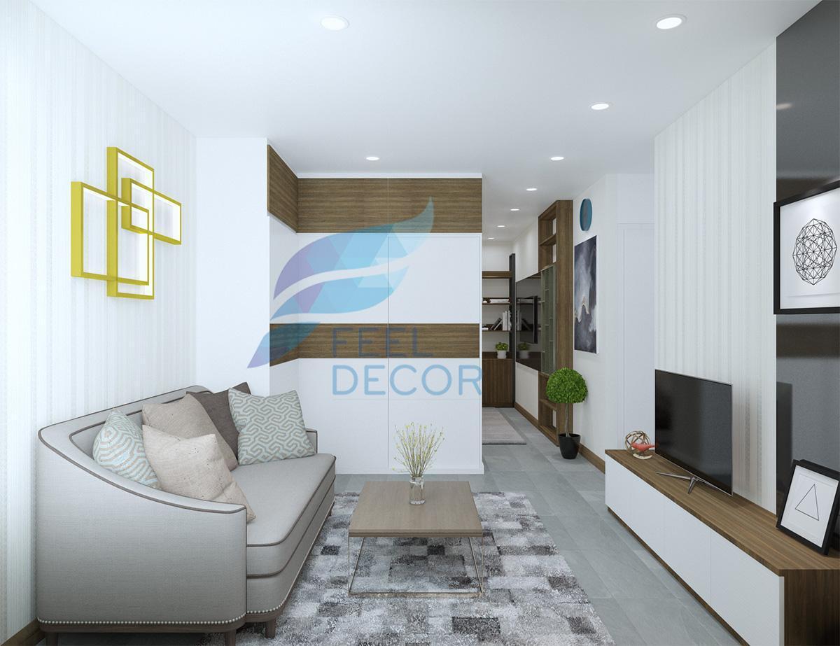 Thiết kế thi công nội thất phòng khách căn hộ 131m2 3 phòng ngủ