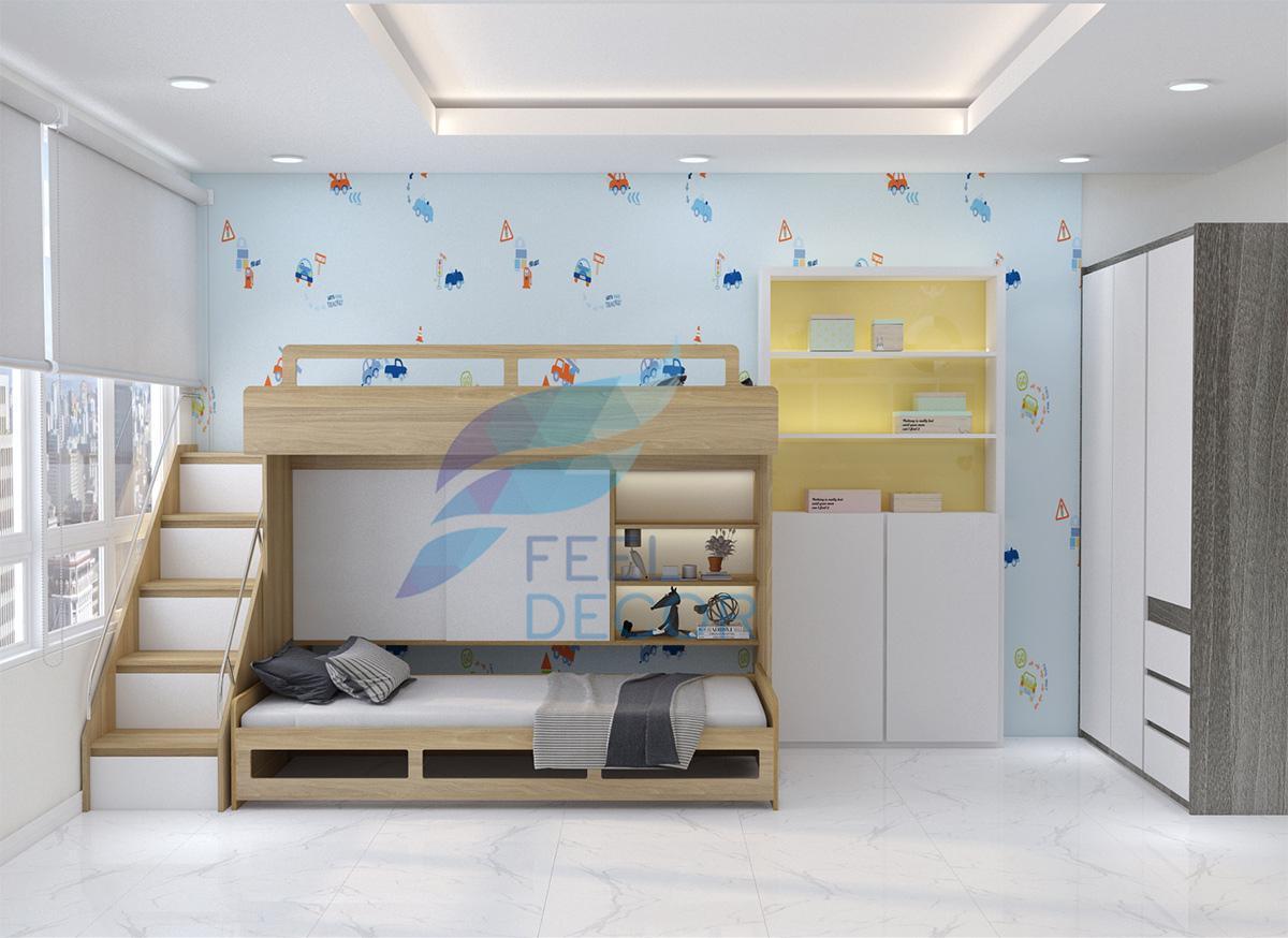 Thiết kế thi công nội thất phòng ngủ trẻ em căn hộ 131m2 3 phòng ngủ