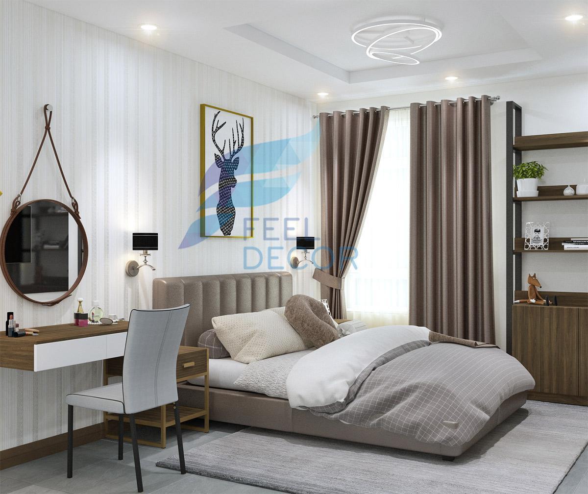 Thiết kế thi công nội thất phòng ngủ Master căn hộ 131m2 3 phòng ngủ