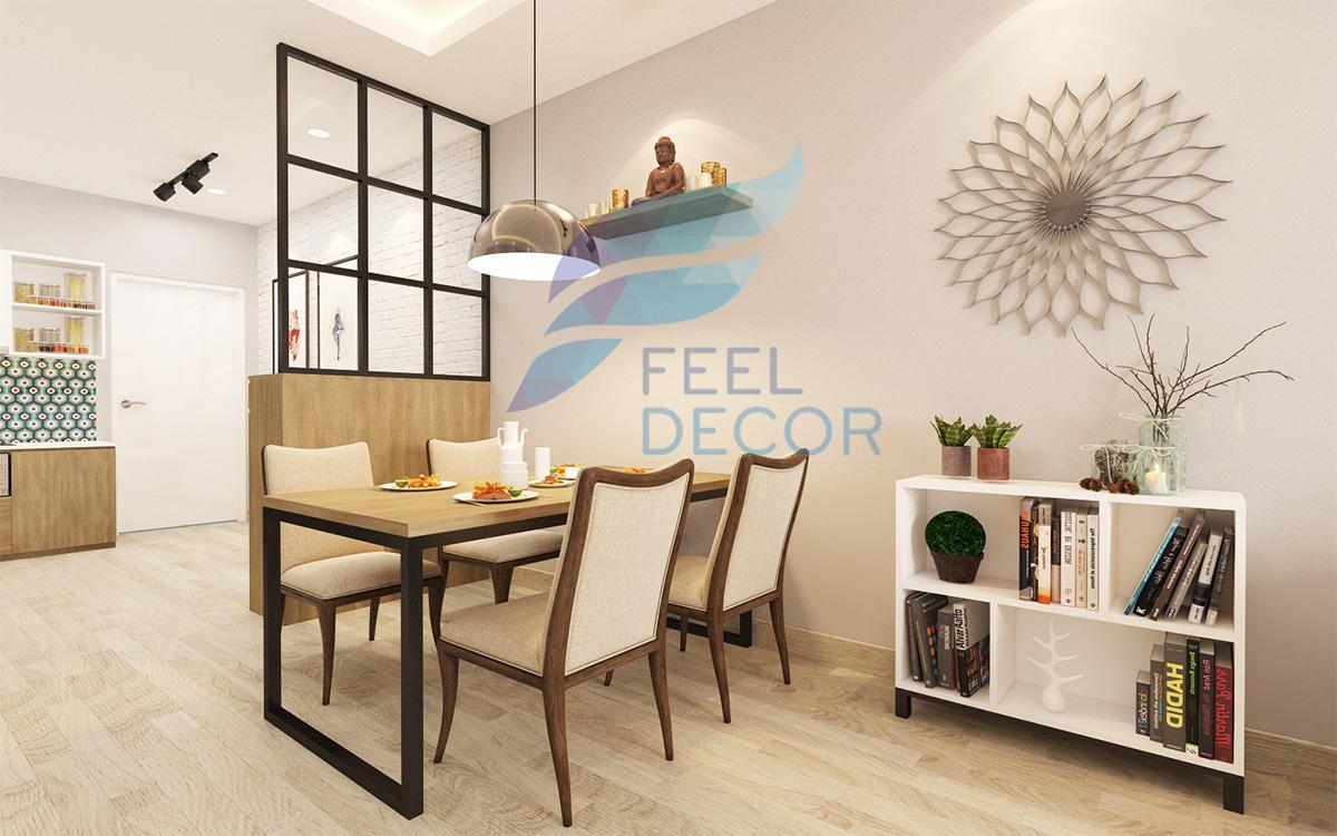 Phối cảnh bố trí nội thất căn hộ 2 phòng ngủ diện tích 75m2 chung cư Tân Phước