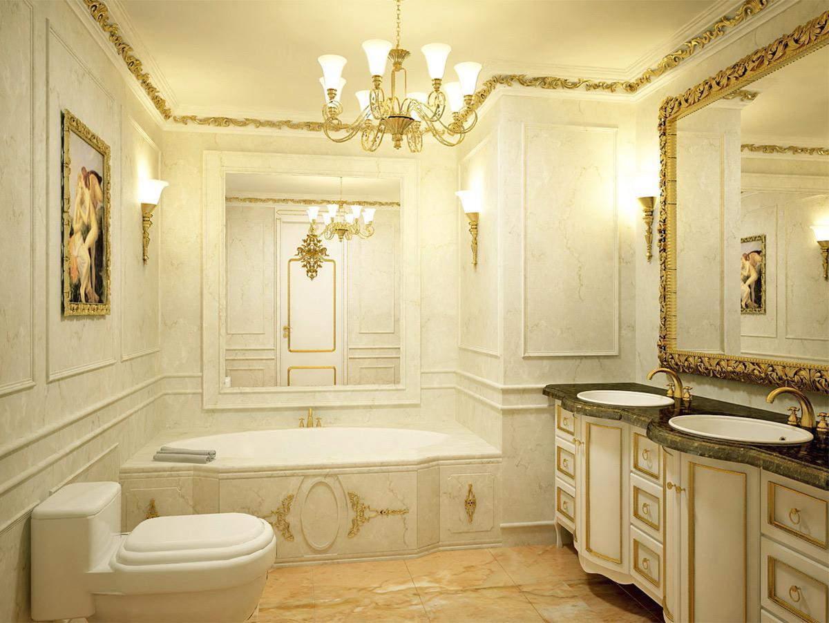 Trang trí phòng tắm với đèn chùm sang trọng