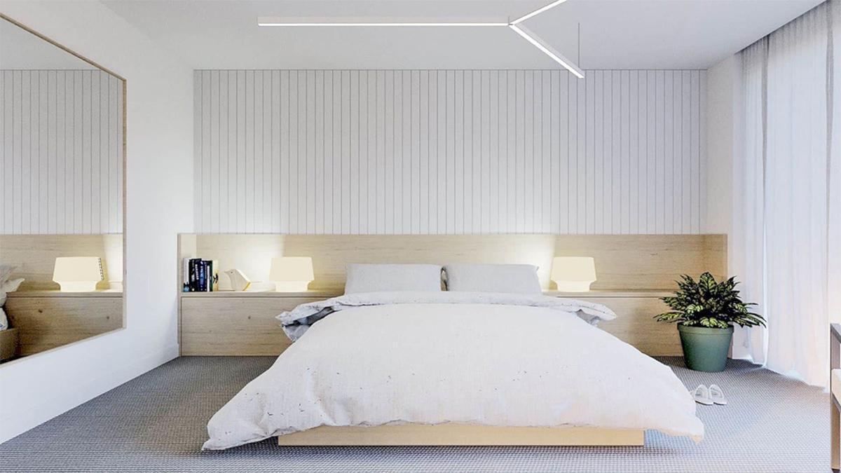 giường ngủ màu trắng