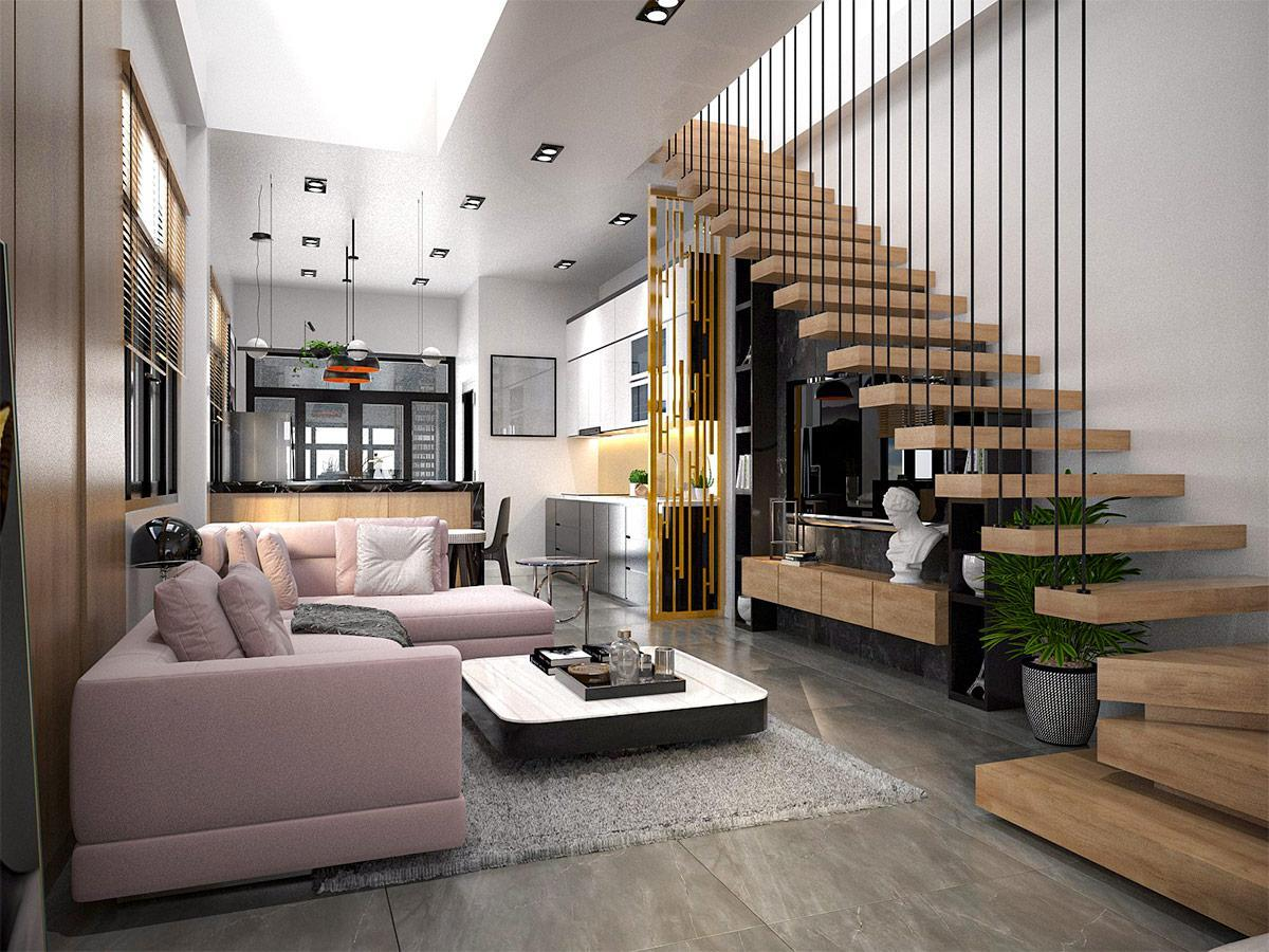 Thiết kế cầu thang không tay vịn bằng gỗ