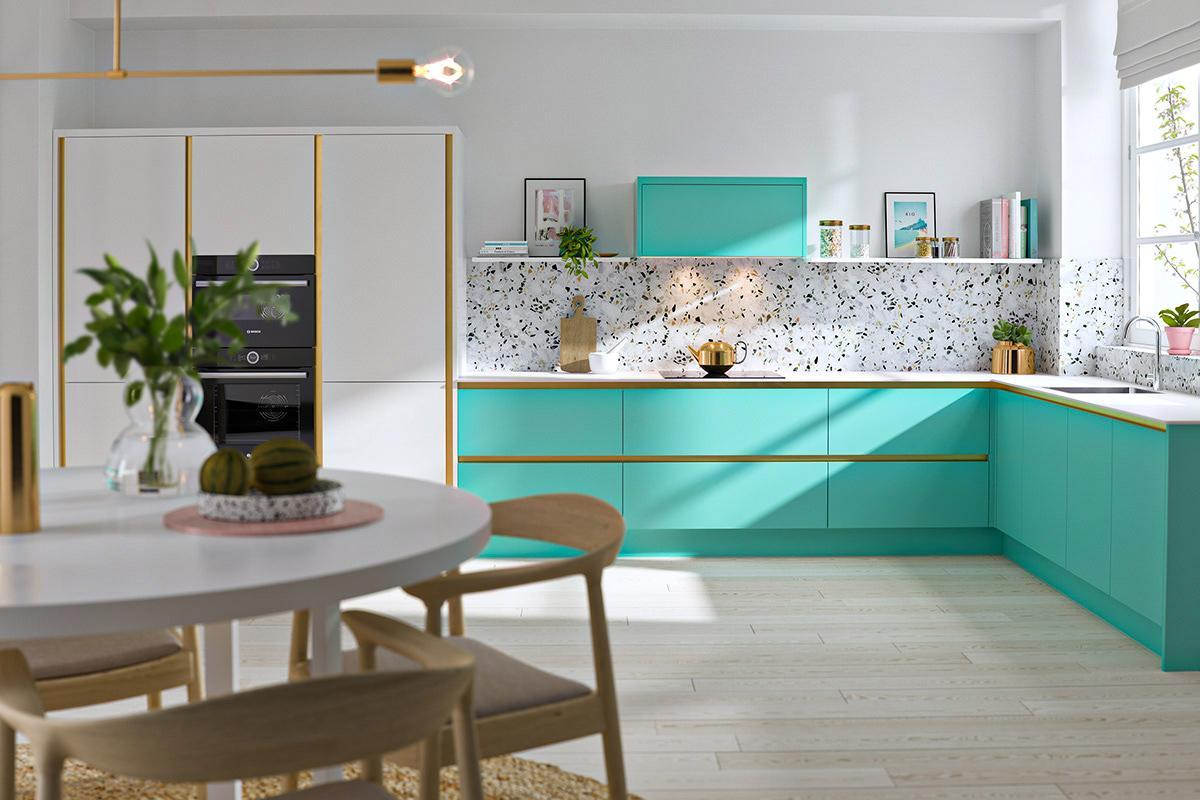 Thiết kế nội thất phòng bếp màu xanh lá