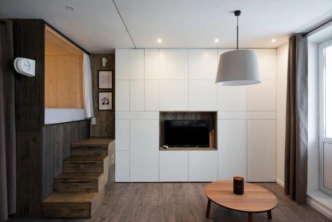 Để tiết kiệm không gian KTS đã bố trí phòng ngủ ở một góc tách biệt trong căn hộ 35m2