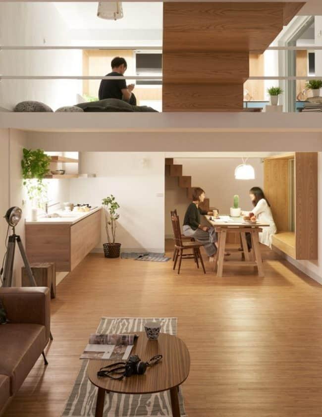 Hình ảnh ấn tượng nhìn từ bên trong với các góc độ khác nhau để bạn có thể hình dung được thiết kế của ngôi nhà nhỏ xinh đẹp này